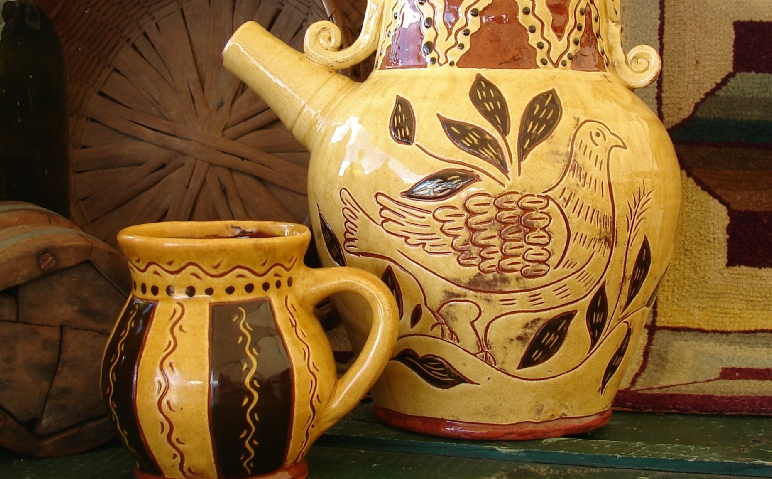 French inspired redware water pitcher by Kulina Folk Art