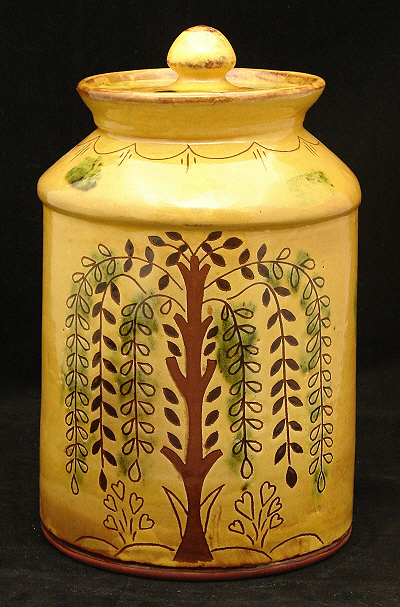 10 inch redware jar, tree of life with flowers