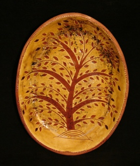 redware oval platter, tree of life