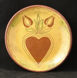 redware plate, heart and tulips