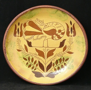 redware plate, peacock with leaves