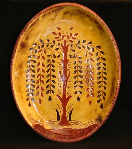 redware platter, tree of life with flowers