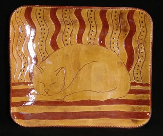 redware rectangular platter, the beekeeper